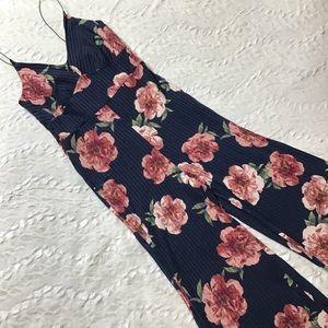 Navy floral print one piece pants jumper onesie  L